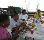 eating New Orleans food at a family picnic